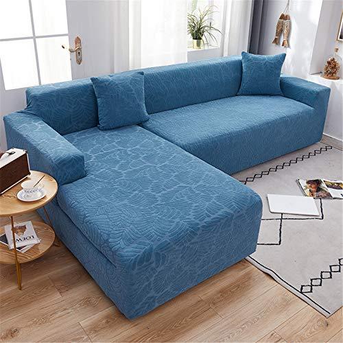 YMOMG Funda De Sofá Elástica En Forma De L, Funda De Sofá Segmentada De Tela Jacquard De Spandex, Funda De Protección Antideslizante para Muebles (Azul,2people + 2people)