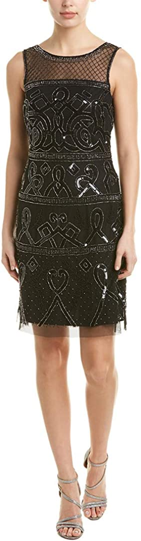 Adrianna Papell Women's Sleeveless A-line Beaded Cocktail Dress