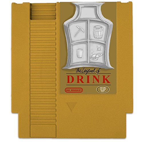 Ink Whiskey Concealable Entertainment System Flask – Looks Like a Retro Video Game Cartridge – But It's a Flask with a Hilarious Label (Gold Legend of Drink)