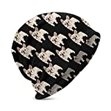 Slouchy Beanie Cute French Bulldog Skull Cap Hat Infinity Scarf Soft Chemo Hats - Year Round Comfort for Travel Skiing Hiking Cycling