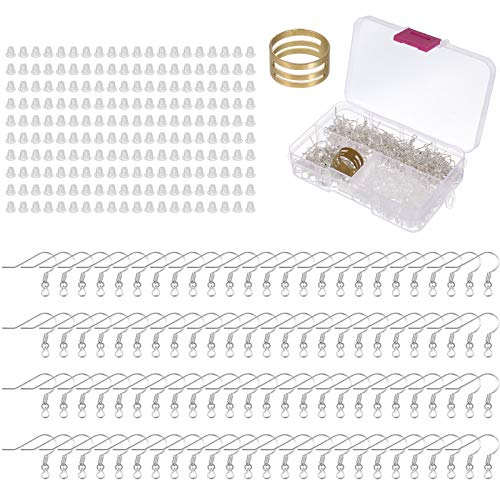 RosewineC 400 Pieces Earring Hooks, 200 PcsSilver Plated Ear Wires Fish Hook and 200 Pcs Clear Earring Backs for DIY Jewelry Findings Earring Making Suppliers