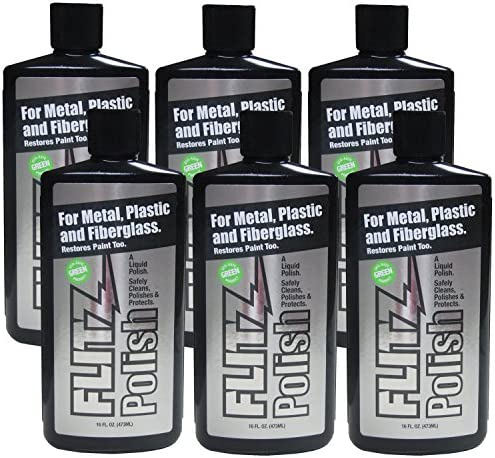 Flitz - LQ 04506 Multi-Purpose Polish and Cleaner Liquid for Metal, Plastic, Fiberglass, Aluminum, Jewelry, Sterling Silver: Great for Headlight Restoration + Rust Remover, 16 oz