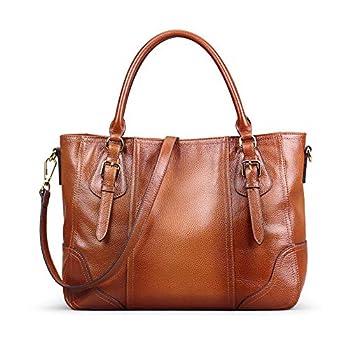 Kattee Women s Leather Purses and Handbags Top Handle Satchel Shoulder Bag Designer Tote Sorrel