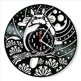 YYIFAN Totoro - Reloj de pared de vinilo, 30 cm, diseño vintage, color negro