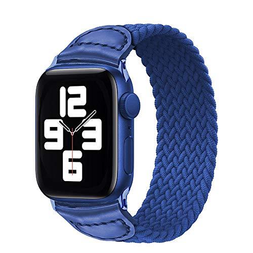 AIREQN Solo Trenzada Bucle de la Correa for el Reloj de la Banda de 44 mm 40 mm 38 mm 42 mm de Silicona elástico Serie Reloj Pulsera (Band Color : Cold Sea Blue, Size : 38mm or 40mm)