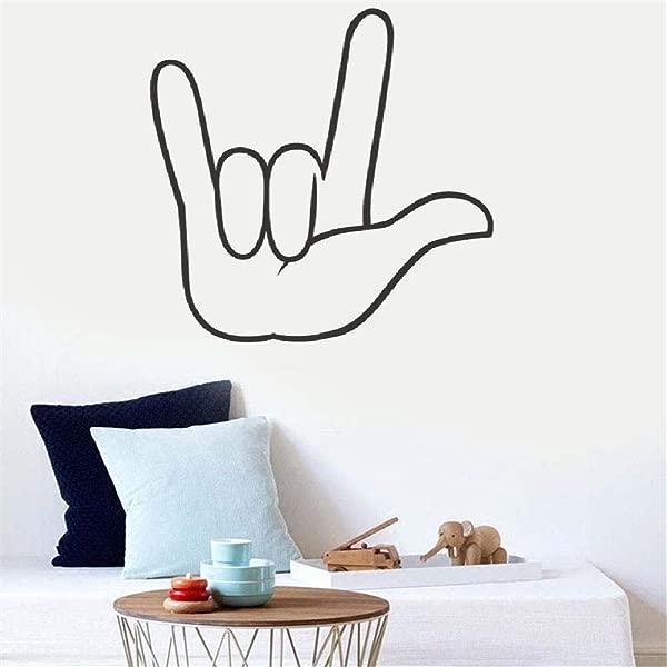 墙壁艺术装饰贴花可移除壁画我爱你客厅卧室幼儿园儿童房的美国手语
