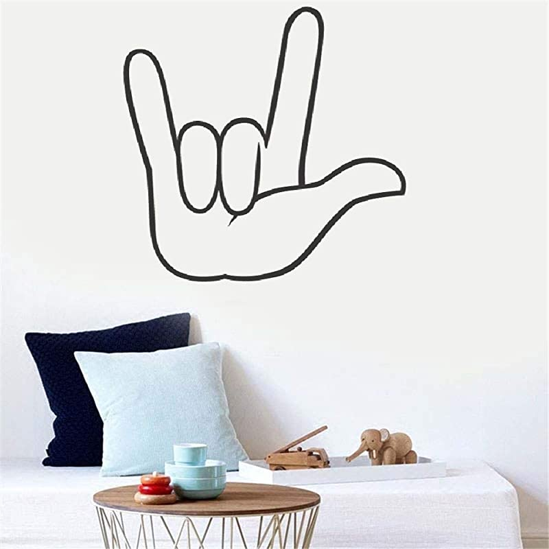 Wall Art Decor Decals Removable Mural I Love You American Sign Language For Living Room Bedroom Nursery Kids Room