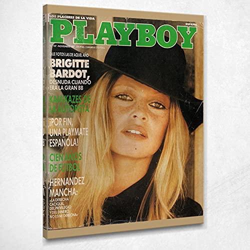 Quadro Playboy Spagna Copertina Rivista Vintage Stampa su Tela Pby021 Alta qualità Certificata Fine Art Giclée, Fatto in Italia, 40x30 cm