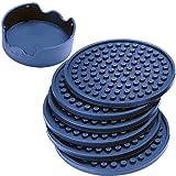 Juego de 6 posavasos de silicona con soporte, color azul marino profundo – buen agarre, gran tamaño profundo condensación trampa – apto para muebles que Thirstystone
