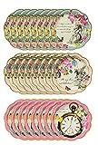 Talking Tables Paquete de 24 platos de papel desechables con temática de Alicia en el país de las...