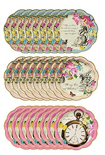 Talking Tables Confezione da 24 piatti di carta usa e getta a tema Alice nel Paese delle Meraviglie | Forniture per feste del Cappellaio Matto, compleanni, baby shower, festa della mamma