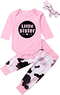 LIZHILI Newborn Baby Girl Clothes Little Sister Romper Bodysuit Cartoon Pants Outfits