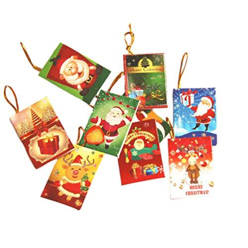 PRETYZOOM 50 Stück Mini-Weihnachtskarten Machen Einen Wunschkarten Weihnachtsbaum Hängen Dekoration Zufälliges Muster