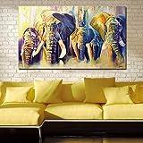 YCUION Pintura Decorativa Decoración para el hogar Pintura al óleo Un Grupo de Elefantes Cuadros de Pared para Sala de Estar Pinturas sobre Lienzo Sin Marco 16 * 24inch