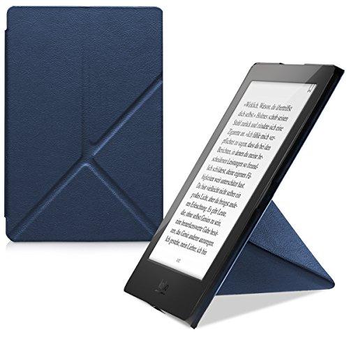 kwmobile Étui pour liseuse électronique Compatible avec Kobo Aura H2O Edition 2 - Étu Housse à Rabat en Simili Cuir Bleu foncé