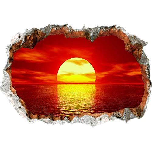 ZZFGXX Pegatinas De Pared,Vinilo Decorativo Pared Rota 3d Puesta De Sol Roja 40x60cm Adecuado Para La DecoracióN De Paredes De Dormitorio, Sala De Estar Y HabitacióN Infantil