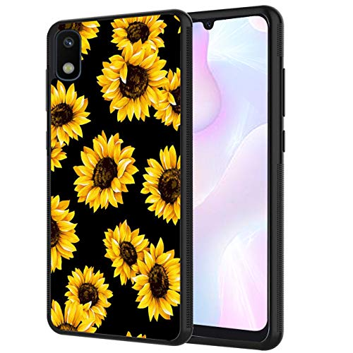 Galaxy A10E Case, AOWSSE Black Sunflowers Customized Design Printed Hybrid Hard Plastic Back Flexible Shock Soft TPU Bumper Protective Phone Case for Samsung Galaxy A10E (2019 Release)