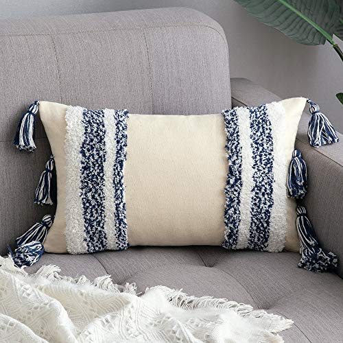 MIULEE Tasseled Cushion Covers Bohemian Indian Embroidered Decorative Square Throw Pillow Case Pillowcases for Couch Livingroom Sofa Bed with Invisible Zipper 12x20 inch 30x50cm Navy