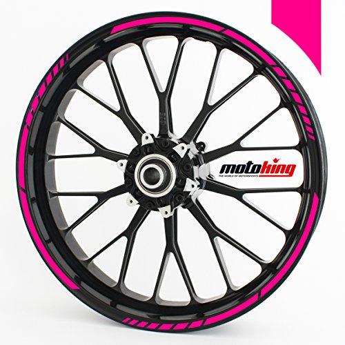 Motoking Adhesivos para Borde de llanta neón de Color Rosa - Juego Completo de 15' a 19' / Color Opcionales