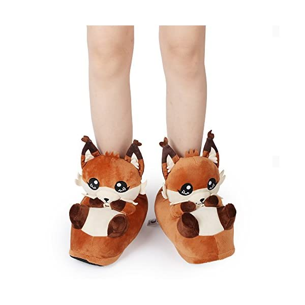 corimori 1847 (10+ Designs) Fox Faye Cute Plush 3D Animal Shaped Slippers, Funny Lounge Shoes, Womens Sizes 4-13