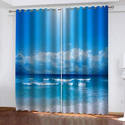 WLHRJ Cortina Opaca en Cocina el Salon dormitorios habitación Infantil 3D Impresión Digital Ojales Cortinas termica - 234x138 cm - Paisaje de Cielo Azul y mar