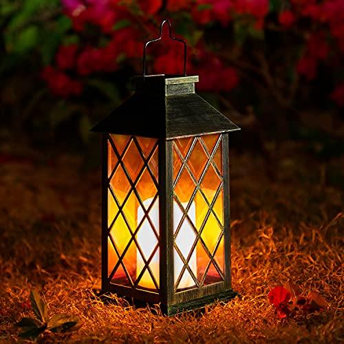 Solcellslampa trädgård ljus, oxyLED flimrande sol trädgårdslampor hängande lykta IP44 vattentät LED soldeco-landskapsbelysning för uteplats bakgård gångväg varm vit