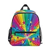 Chvon Mochila infantil con diseño de estrellas arcoíris y bolsa de libros para niños con correa en el pecho, preescolar, para niños y niñas