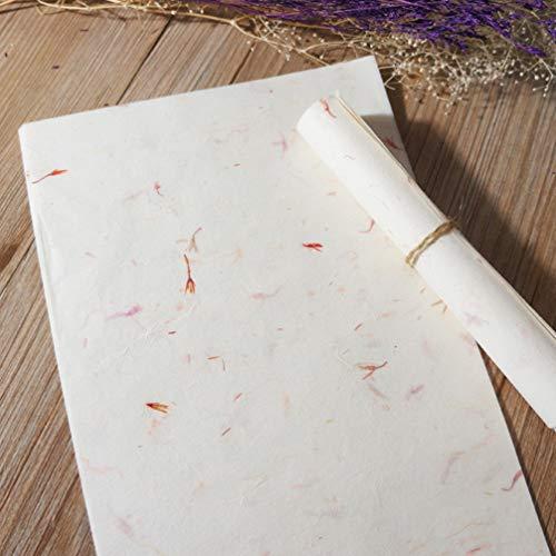 STOBOK 40 Piezas de Papel de Caligrafía China Planta Natural Flor Cepillo de Arroz Papel Artesanal Hecho a Mano Arte Tejido Xuan Papel Carta Papel de Escribir