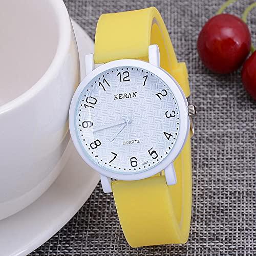 Relojes De Pulsera para Niñas,New Children's Watch Trend Student Women's Student's Student Watch Digital Silica Bruberite Damas Watch-Amarillo