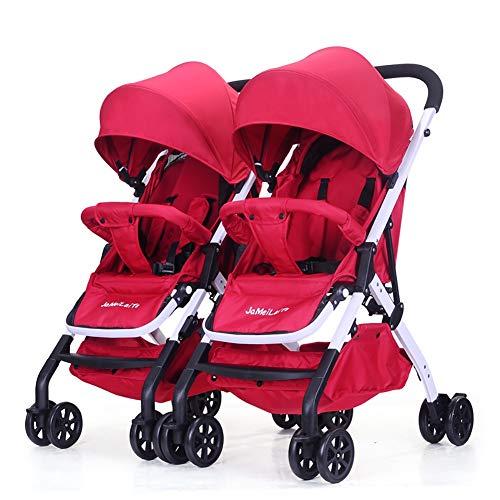 Poussettes JCOCO jumelle de bébé, Chariot léger Infantile démontable de Suspension Pliable léger (Couleur : Linen Blue)