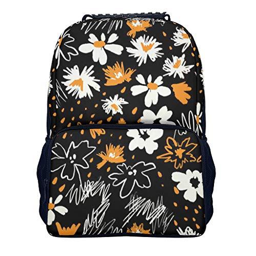 Blumen Rucksack - Blumen-Kunst-Entwurf Laptop Reisen Rucksack mit Papiertasche - Schulanfang 2019 Schultaschen für Kinderschule Campus/Reisen/Sport White OneSize