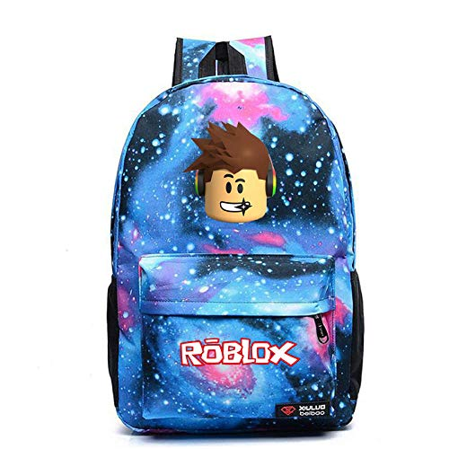 Game r-o-b-l-o-x Pattern Backpack Student School Bag Outdoor Travel Bag Sports Bag Mountaineering Bag Computer Bag 1-Starry Blue Pattern 1_High Capacity