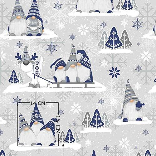 Pingianer 11,99€/m 100x160cm 100{290d2a221182a9a8d46d00866cd031ca9f0ec5013375b9100fac3dc1807b3804} Baumwolle Weihnachten Baumwollstoff Kinder Meterware Handwerken Nähen Stoff (3 Weihnachtszwerge Dunkelblau 1, 100 x 160 cm)