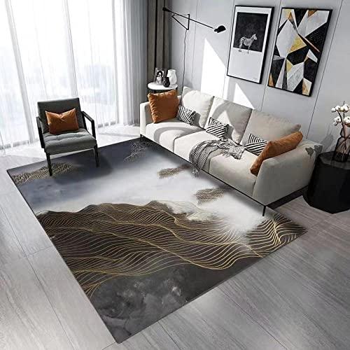 Kunsen Abstract Water Ink Agua de montaña Líneas de Oro Sala de Estar Salón Home Carpet Dormitorio Dormitorio Antideslizante alfombras Baratas alfombras Online Baratas Alfombra de Pasillo N100X140CM