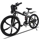 Vélo de Montagne électrique ANCHEER, vélos pliants électriques pour Adultes, vélo électrique de 26 Pouces avec Batterie au Lithium 36 V 8 Ah et Vitesses Professionnelles 21.