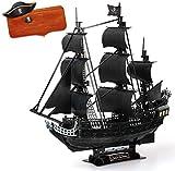 Kw-tool Rompecabezas 3D Barco Pirata Modelo de Barco, Kit de Barco Set de Barco para Adultos, Grande y difícil La Venganza de la Reina Ana 25.3''X26.77''X10 ''