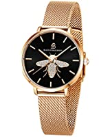 BlackByBlueBrave Women's Stainless Steel Mesh Band Watch with Crystal Accented 3-Hand Analog Dial and Japanese Quartz Movement - 3ATM Water-Resistant