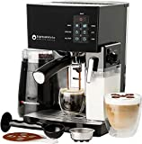 EspressoWorks 10Pc All-in-One Barista Bundle Espresso Machine & Cappuccino Maker, Built in Milk Steam & Frother, Electric Grinder, 2 Cappuccino & 2 Espresso Cups, Spoon/Tamper,16 Coffee Stencils