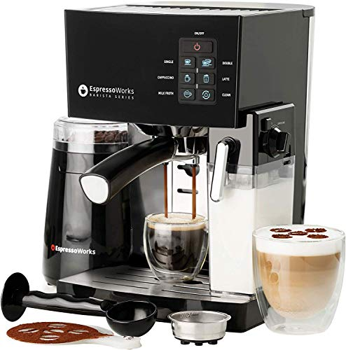 EspressoWorks 10Pc All-in-One Barista Bundle Espresso Machine & Cappuccino Maker, Built in Milk Steam & Frother, Electric Grinder, 2 Cappuccino & 2 Espresso Cups, Spoon/Tamper,16 Coffee Stencils