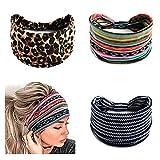 Zoestar Boho, diademas anchas, bandas de pelo de leopardo, elásticas, turbante para mujeres y niñas (paquete de 3)