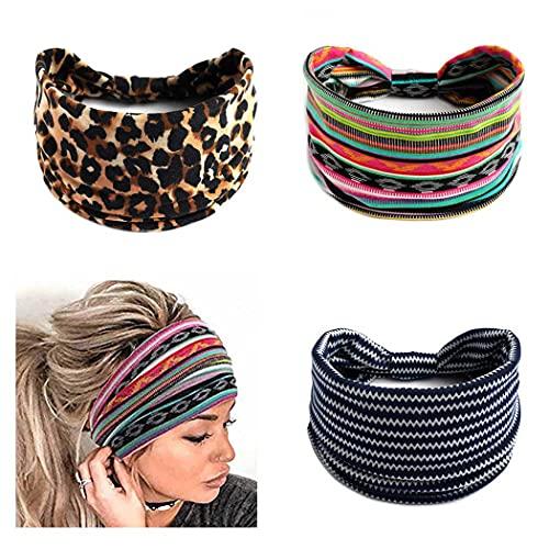 Zoestar Boho, bandas anchas para el pelo, bandas de yoga, turbante anudado, bufandas de cabeza gruesas, vendas para mujeres y niñas (paquete de 3)