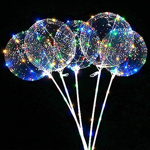 Bumen 8 Stück LED Licht Ballons Transparent Party Ballons, 12-18 Zoll LED Lichter Bunte Luftballons, Perfekt für Valentinstag, Party, Jahrestag Feierlichkeiten, Hochzeit, Urlaub Dekoration