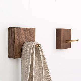 Natural Wooden Coat Hooks Wall Hanger - Novelty Decorative Bathroom Hooks Solid Wood Coat Rack with Brass Hook Wall Mounted Natural Wooden Wall Hooks Handmade Coat Hanger Key Holder,Walnut 2pcs