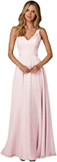 Women's A-line V-Neck Chiffon Bridesmaid Dress Long Formal Evening Gown Lace Bodice