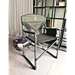 EVER ADVANCED Full Back Aluminum Folding Directors Chair with Side Table and Storage Pouch Heavy Duty 350LBS (Green…
