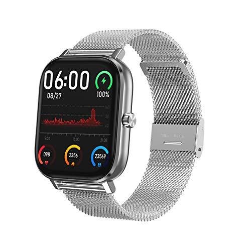 NNYCC Smartwatch, Fitness Armbanduhr mit Blutdruck Messgeräte, Pulsoximeter, Wasserdicht IP67 Fitness Tracker Schrittzähler für Damen Herren Smart Watch für iOS Android,Silver Steel Strap