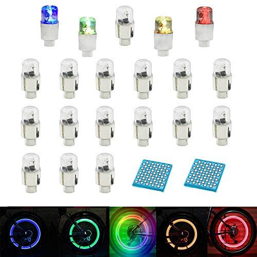 LZYMSZ 20PC Radventilleuchte, LED-Blitzrad Reifen Ventil Vorbaukappen Leuchten für Auto Fahrrad Motorrad, Speichenleuchten Ventilkappen Zubehör (Mix)