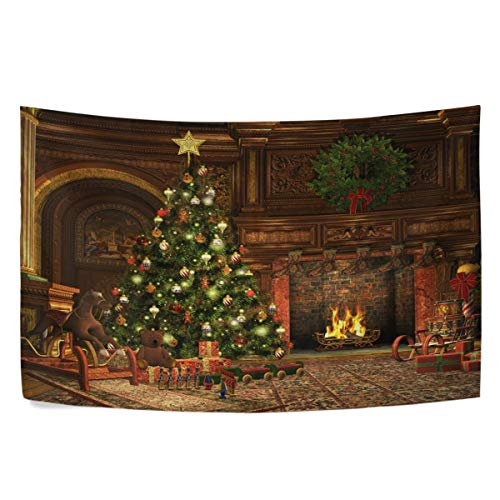 N\A Retro Christmas Tree Tapestry Vintage Xmas Gift Poinsettia Tapestry Wall Hanging Hippie Bohemian Tapestries Bedroom Living Room Home Dorm Decor Wall Art