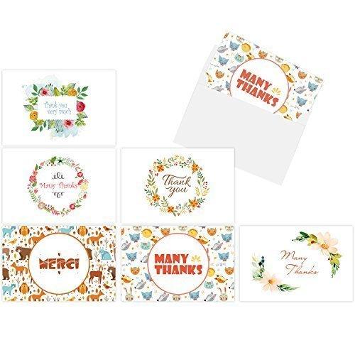 Thank You Cards, Ohuhu 48 Thank U Card of 6 Designs, Folded Cards Design W/ 48 Envelopes for Wedding, Graduation, Baby Shower