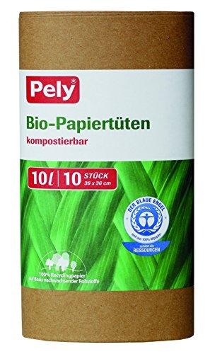 pely Bio-Papiertüten, 10 Liter, 36 x 36 cm